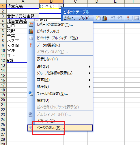 excel 2010 2007のピボットテーブルでページの表示は office 2007