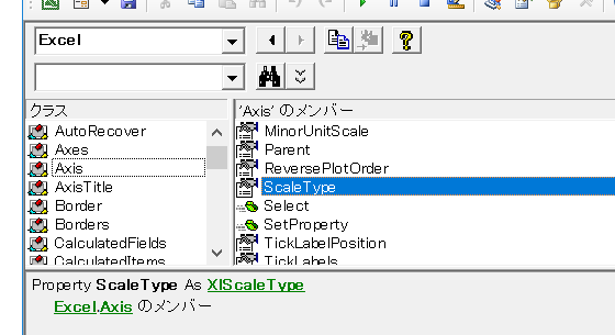 AxisオブジェクトのScaleTypeプロパティ
